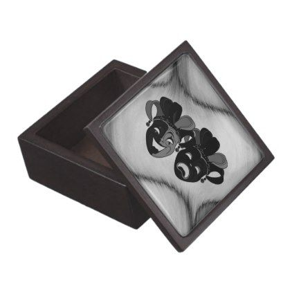 Comedy and Tragedy Theater Jester Masks Silver Gift Box - diy cyo customize create your own #personalize