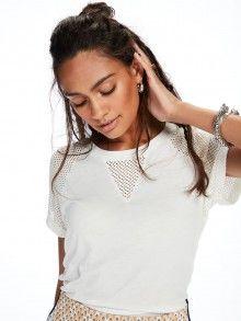 Scotch&Soda bílé děrované tričko Paneled - 1240 Kč