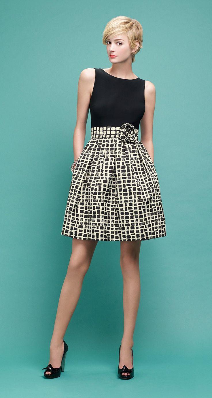 PAULE KA : Dress in capri jacquard and black viscose jersey