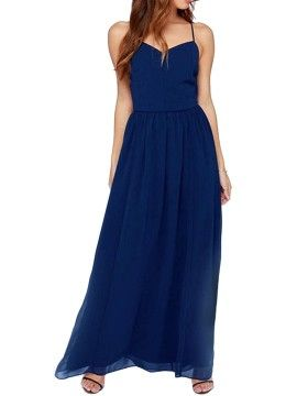 Shop Blue Keyhole Back Cut Out Side Cami Maxi Dress from choies.com .Free shipping Worldwide.$16.49