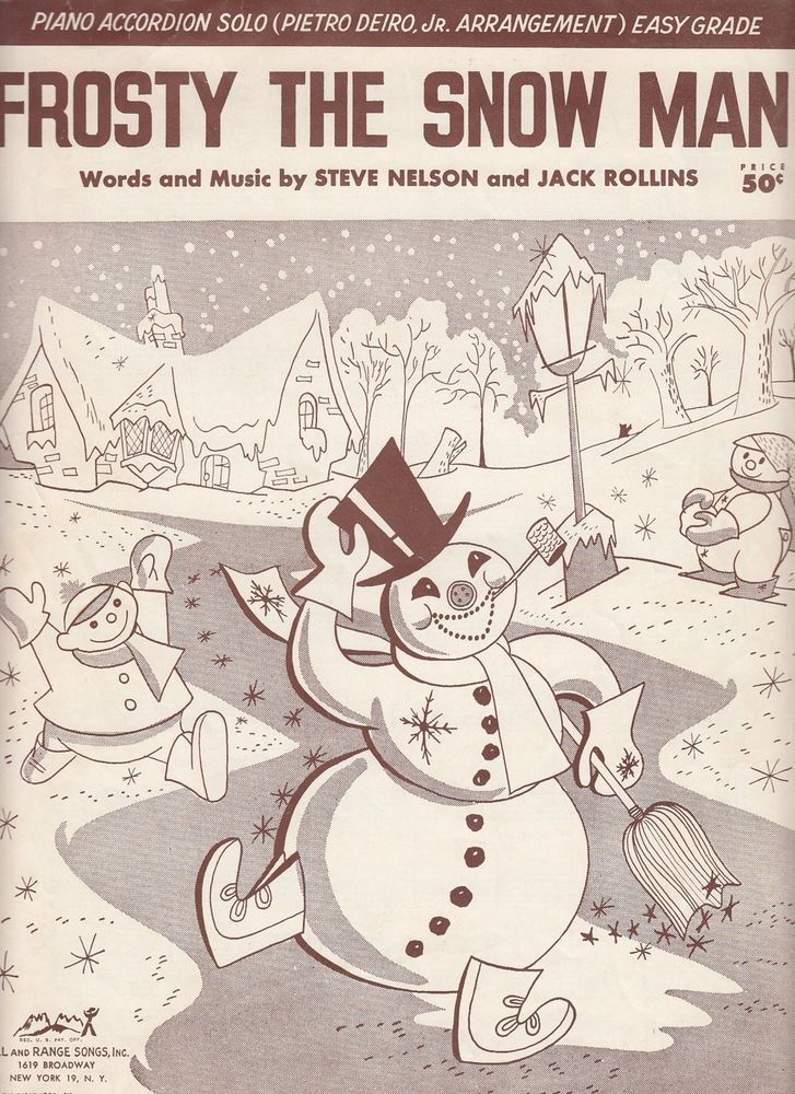 Frosty the Snow Man 1950 Sheet Music Piano Accordion Solo Easy Grade Steve Nelso