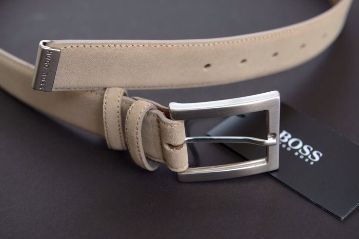 Handmade in Italy NWT Hugo Boss Men's Suedonio Sand Leather Belt 90cm 34