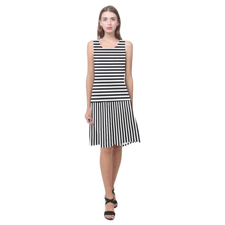 Black and White Stripes Sleeveless Splicing Shift Dress(Model D17)
