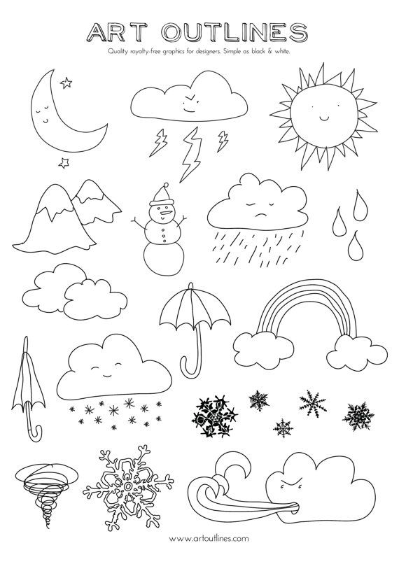 Set of Weather Illustrations Art Outlines Full by ArtOutlines