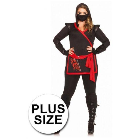 Ninja kostuum voor dames. 4 delig ninja kostuum voor dames inclusief losse mouwen, broek, gezichtsmasker en top met een draak erop. Materiaal: 100% polyester.