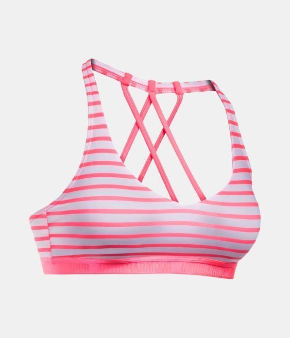 c8da02b8cd2 Under Armour Womens Low-Impact Strappy Sports Bra Pink White XS 1289468-683   Underarmour