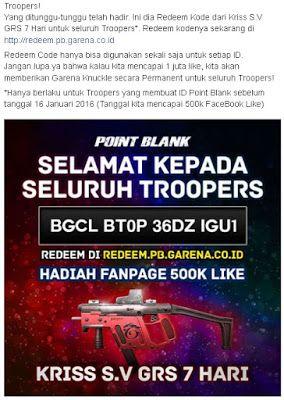 Kode Redeem untuk para troopers agar mendapatkan senjata Point Blank gratis Kriss S.V GRS dengan durasi 7 Hari
