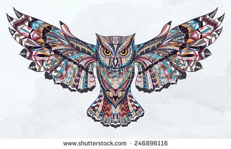Patterned owl on the grunge background. African / indian / totem / tattoo design. It may be used for design of a t-shirt, bag, postcard, a poster and so on.   - stock vector