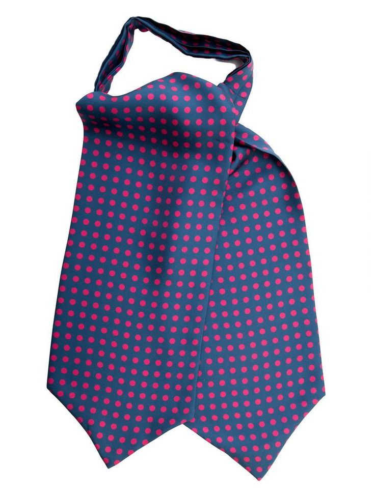 """Bracciano-Silk Ascot Tie . Fuchsia pink polka dots on navy blue silk twill to give your look some dash. One side is 5"""" longer than the other. This allows you to tie it like a tie (for example a Windsor knot) or tie it as a classic ascot. Versatile, can be worn as a formal cravat, as an alternative to a tie for business attire, or as a more casual debonair  accent to your wardrobe.#Blues #evening #formal"""