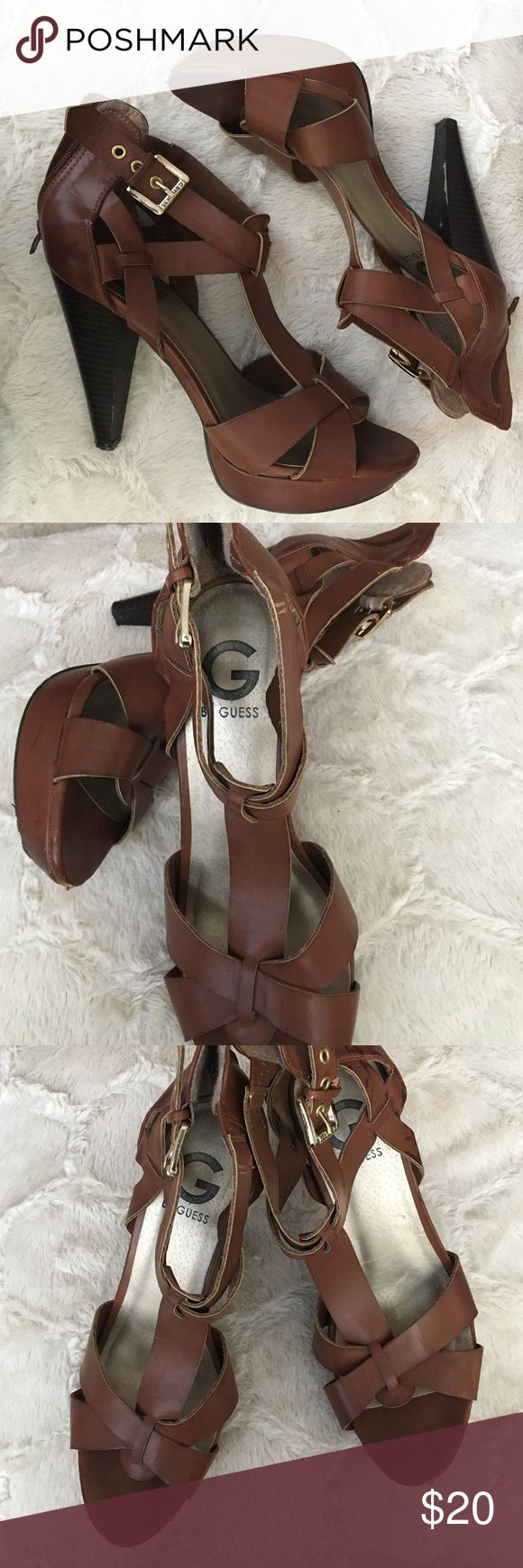 Strap up Guess heels Brown strap up Guess heels. Make your offer! ❤️ G by Guess Shoes Heels