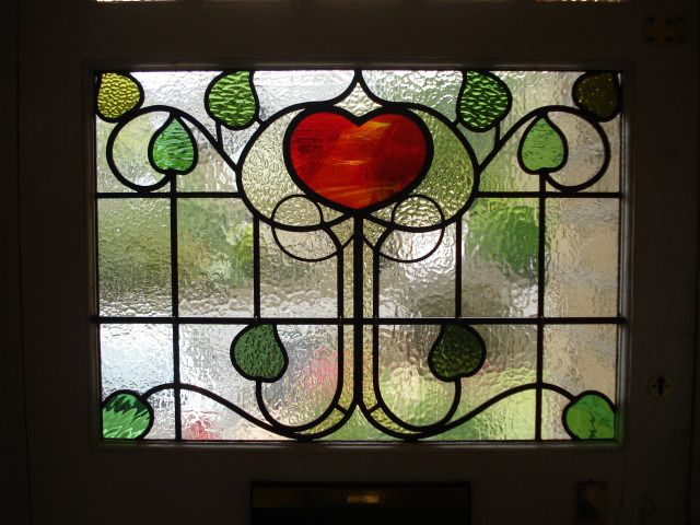 This Antique Leaded Panel Had 27 Broken Pieces Before It Was Repaired And Completely Re-Leaded Bringing It Back To Its Former Glory .