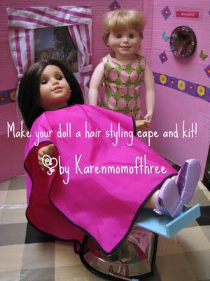 Doll hair care kit - not a good tutorial but it gives an idea   Karen mom of three's craft blog: Make your own doll hairstyling cape and hair care kit