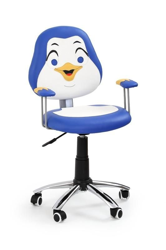Pinguin is een moderne kinderbureaustoel uitgevoerd met een verchroomd stalen poot afgewerkt met zwart kunststof en zwarte kunststof wieltjes aan de onderzijde. De zitting is gemaakt van kunstleer en is uitgevoerd in de vorm van een pinquin, erg leuk en zeer decoratief op bijvoorbeeld een kinderkamer!