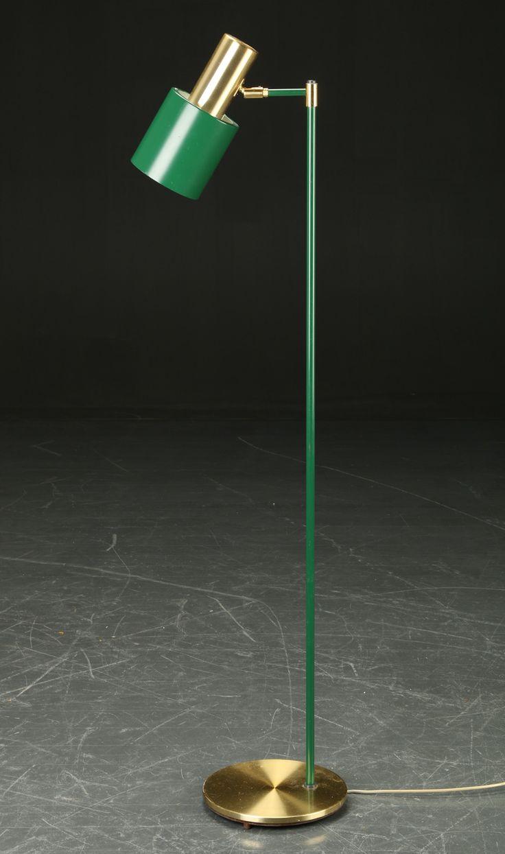 Jo Hammerborg; Brass and Enameled Metal Floor Lamp for Fog & Mørup, 1960s.