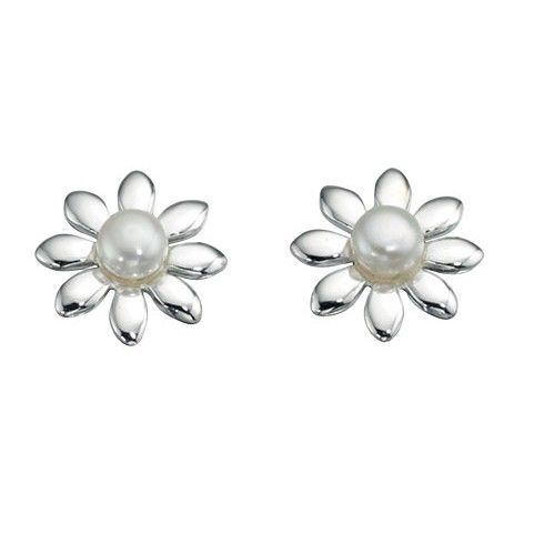 Sterling Silver Pearl Flower Stud Earrings - With a contemporary and free spirited feel, these stylish earrings from the must-have Beginnings collection are designed and created with quality at its core using 925 grade sterling silver and white freshwater pearls: http://ow.ly/Xyckx