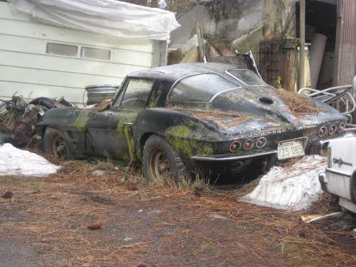 1963 Split Window Corvette. What a shame!  Restore it! It's worth BIG money!!!