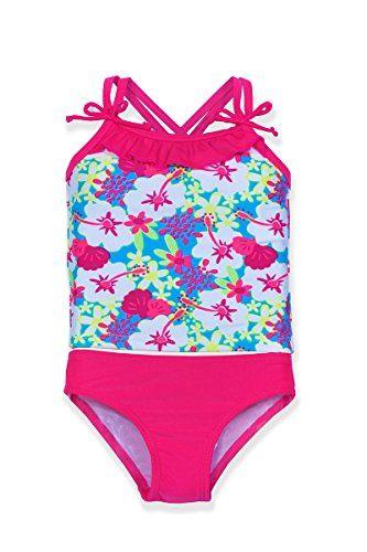 b3dbcd43ae2b0 Jump N Splash Little Girls Pink Hawaiian Crossback Tankini Set w UV 50  Protection