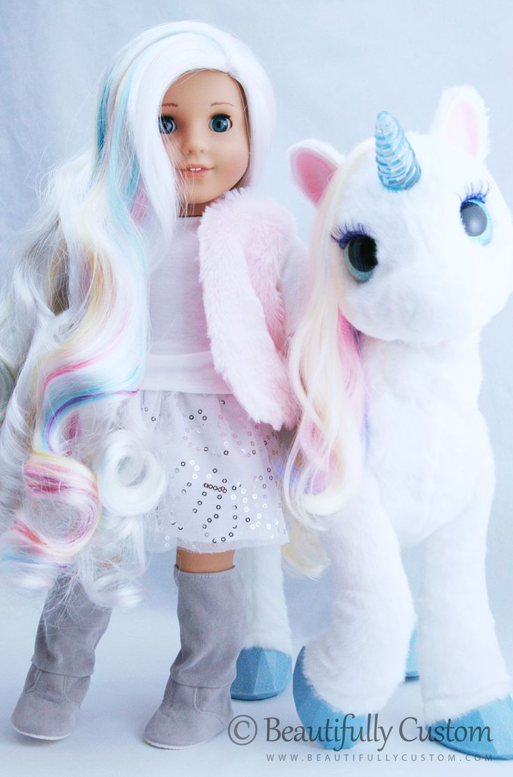 Custom Unicorn American Girl Dolls by Beautifully Custom www.beautifullycustom.com