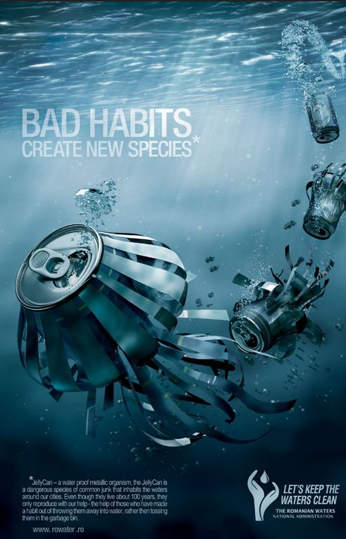 """Bad habits create new species"". by Spotlight for the Romanian Waters National Administration. #pollution #water #jellyfish #cans"