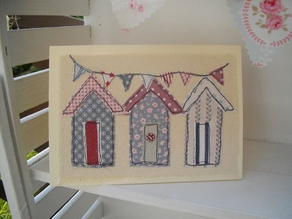 Beach Hut Blank Card Handmade Textile Card by SewSweetbySuzanne