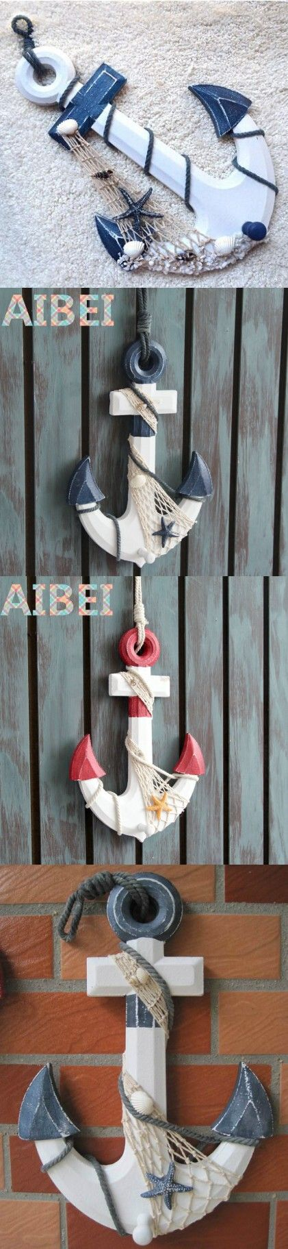 Mediterranean Style COAT HOOK,Wooden Anchor Wall Hooks ,BAR nautical decor home decoration, wall hanging 3d stickers $24.99
