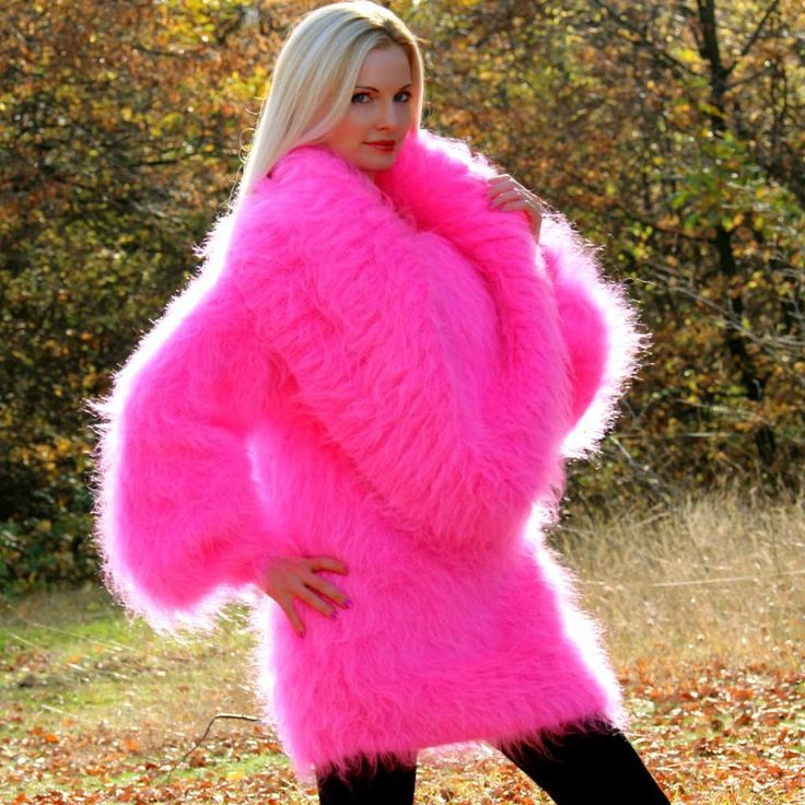 100% hand knitted fuzzy mohair sweater dress in neon pink, size S, M, L, XL