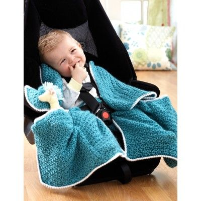 "Car Seat Blanket - tailored to fit with your baby in their car seat.  Keep them warm and cozy while   they travel with you.  Free CROCHET pattern! meas. 34"" x 30"""