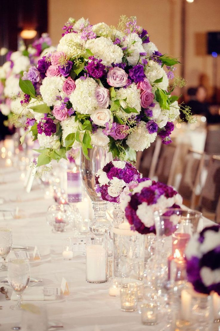 Centerpieces White Plum table decor head table shades of purple Traditional oversized arrangement beautiful
