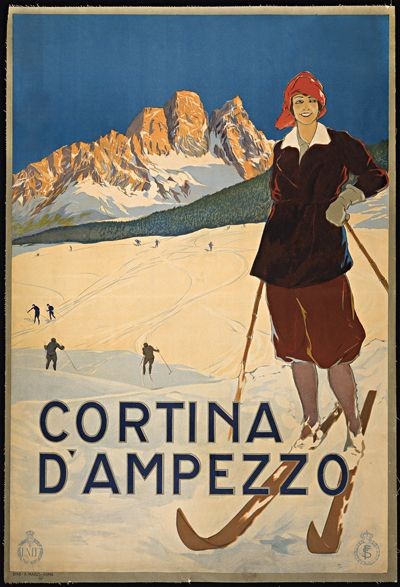 cortina d'ampezzo  vintage ski poster, giclee print unframed or framed from museum outlets, made in usa
