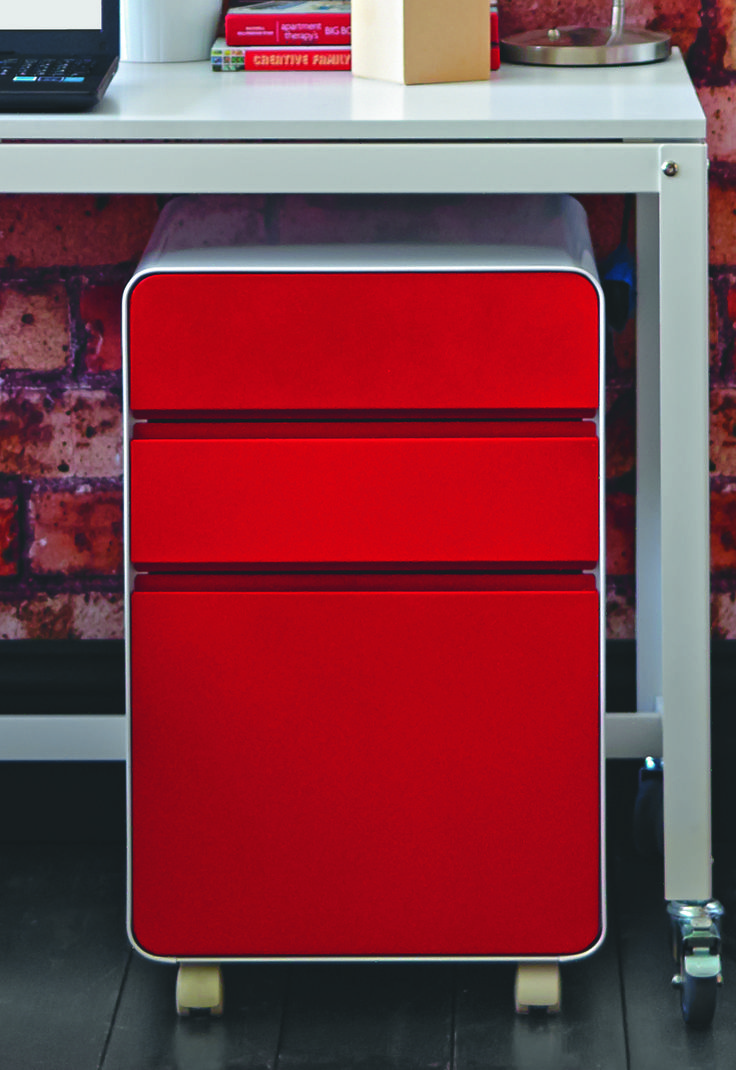Venturo 3 Drawer Pedestal Red  The red is just as cool as the yellow!