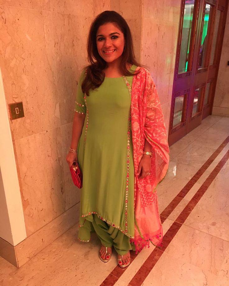Green anarkali with patyala salwar embellished with mirrors with pink Kota two tone dupatta  #mrunalsboutique #green #salwar #madeforyou #pink #dupatta #kota #twotone #mirrors #patyala