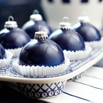 "Christmas ""Cupcakes"".  Fill a decorative muffin tin with baking papers and top with a shiny solid-color Christmas ball ornament.  Nice centerpiece for the kitchen table!"