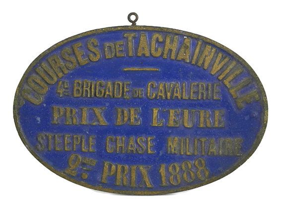 1888 French Antique Equestrian Steeple Chase Medal. Shabby