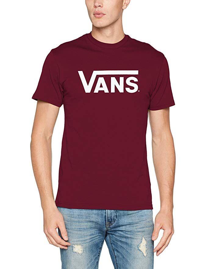 Vans Classic Herren T Shirt Weinrot (Burgunder) mit weißer