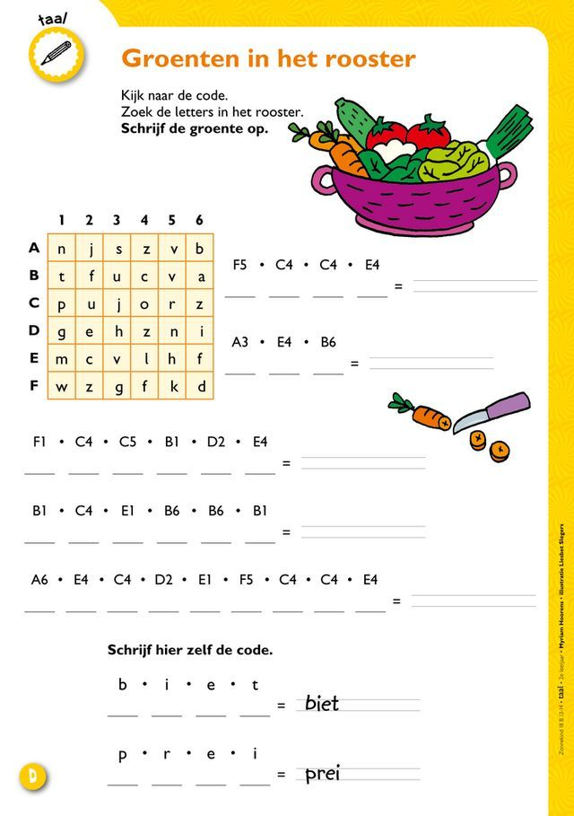 Zonnekind 13 B (13-14), groenten