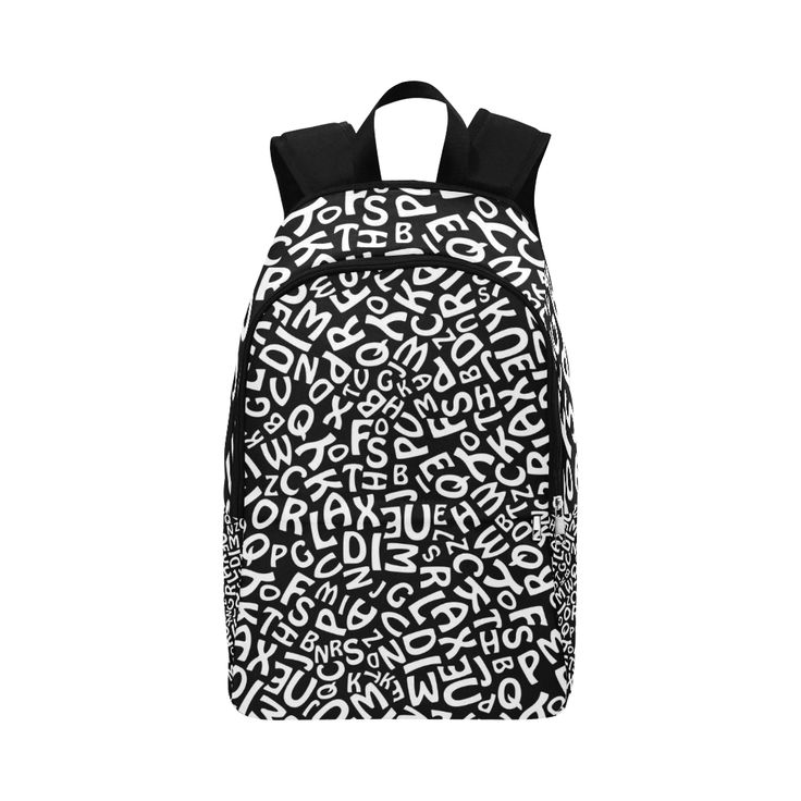 Alphabet Black and White Letters Fabric Backpack for Adult (Model 1659)