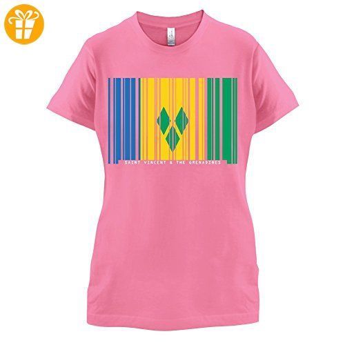 Saint Vincent and the Grenadines / St. Vincent und die Grenadinen Barcode Flagge - Damen T-Shirt - Azalee - XXL (*Partner-Link)
