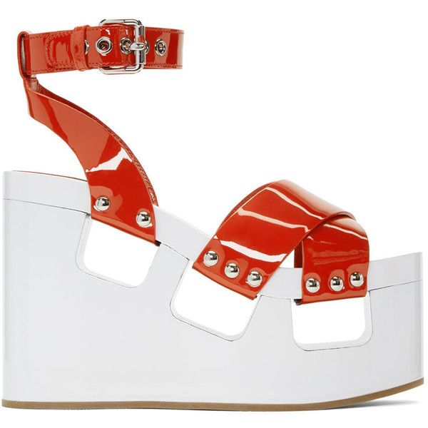 Miu Miu Red and White Wedge Sandals (1 085 PLN) ❤ liked on Polyvore featuring shoes, sandals, heels, wedges, miu miu, red, block-heel sandals, platform wedge sandals, block heel shoes and heeled sandals