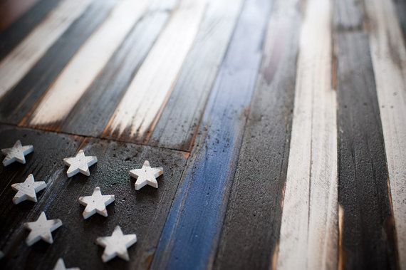 This is beautiful! Thin Blue Line Wood Flag by PatriotWood