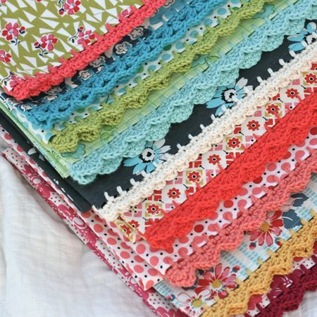 Crochet pillow case edges .
