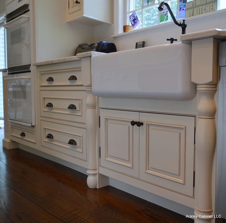 Image result for white glazed cabinets with farmhouse sink