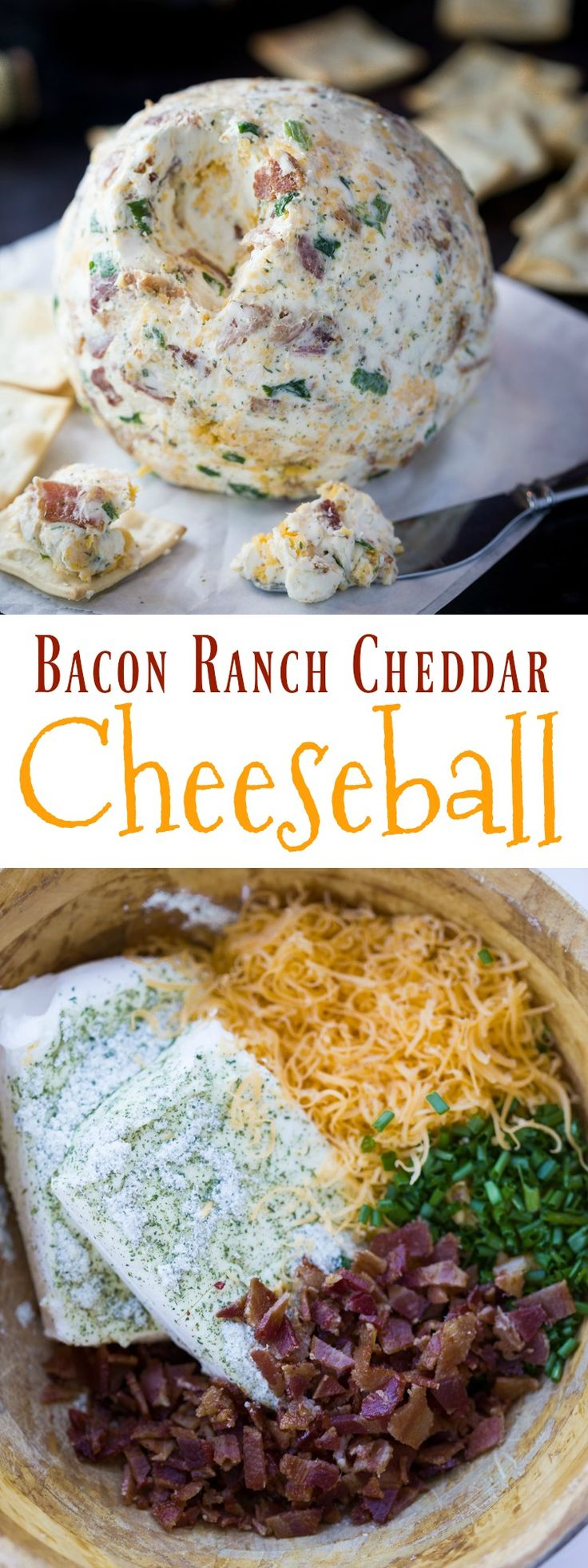 This cheese-ball as a perfect blend of flavors including ranch, crispy bacon bits, 2 kinds of cheese, and chives. A perfectly easy and delicious appetizer!