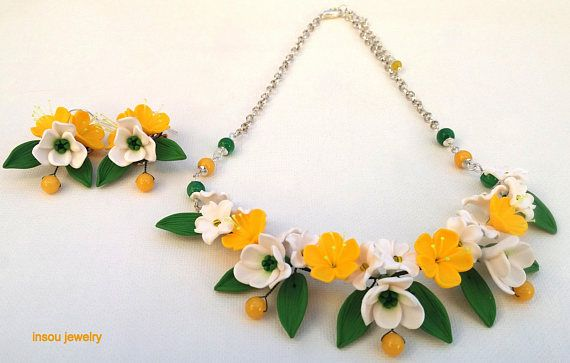 Polymer Clay Round Beads Necklace and Earrings Set Yellow and Orange Fall Colors Jewelry Set Green Necklace and Earrings Set Green