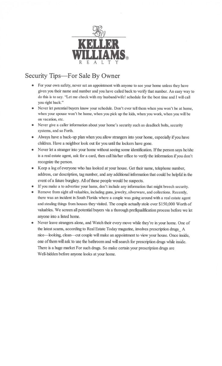 Security Tips - For Sale By Owner.