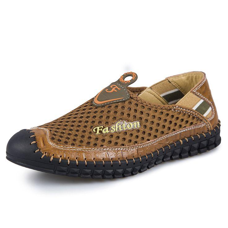 Мужские Дышащие Мокасины Сетки Кожаные Ботинки Новые 2015 Летом Случайные Мужская Обувь Скольжения На Вождение Обувь Ручной работы Дизайнер Обуви