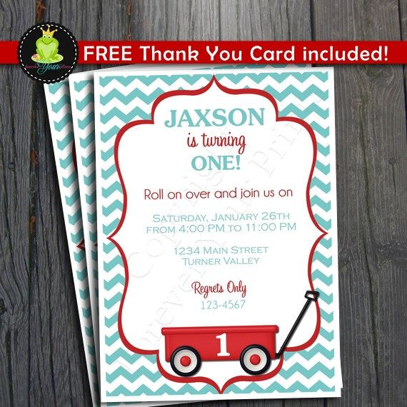 Little Red Wagon Invitation / Red Wagon Invitation / Little Wagon Party / Little Red Wagon Birthday by ForeverYourPrints on Etsy https://www.etsy.com/listing/121736924/little-red-wagon-invitation-red-wagon