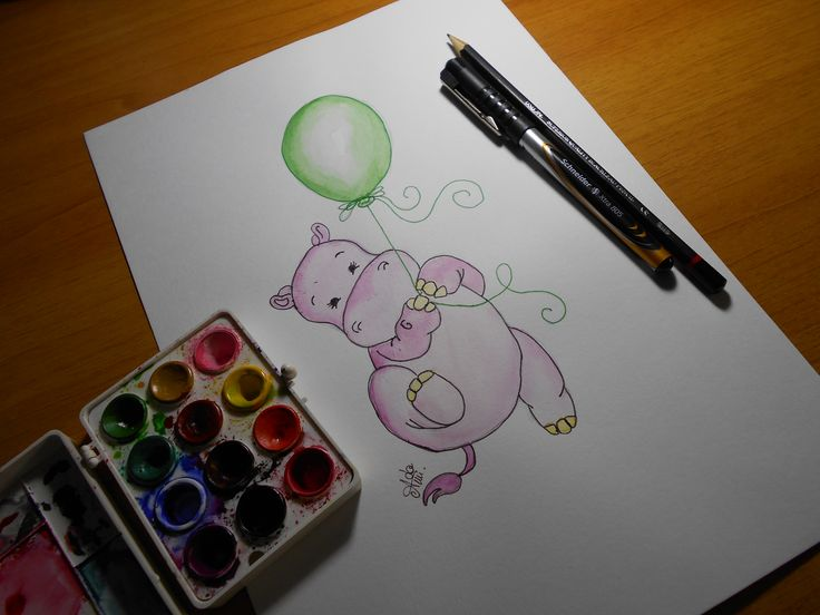 Little hippopotamus watercolor painting