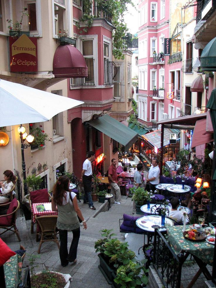 "French Street, Beyoğlu Istanbul. ""Rue Francaise"", with tented buildings, street musicians, cafés, bars and art centers... #Turkey (This streets's real name is Cezayir Sokağı (Algeria Street ))"