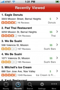 """6. Recognition rather than recall  Minimize the user's memory load by making objects, actions, and options visible.  Example: The Yelp """"Recents"""" tab stores businesses recently visited.  Maps also uses """"recents"""" to enable users to access past addresses and routes.  Other ways to reduce recall (& minimize typing) include remembering the app's last state as well as previous search results."""