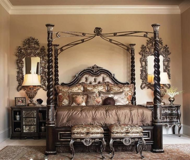 Silver Canopy Bed Frame Part - 38: I Really Like The Dark Wood With The Silver Accents